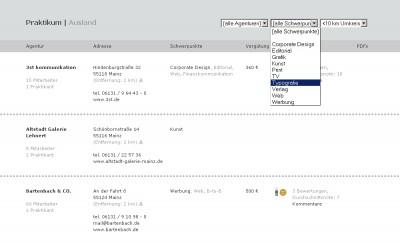 Praxis.FH-Mainz.de. Gyakorlatihelyek-adatbázis a mainzi főiskola részére.