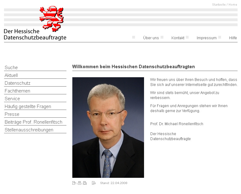 Datenschutz.Hessen.de. WebSite for the Hessian data protection. With selfmade CMS. In collaboration with Harald Vatter Balzar.