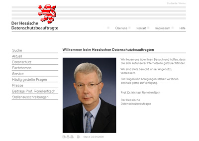 Datenschutz.Hessen.de. WebSite for the Hessian data protection.