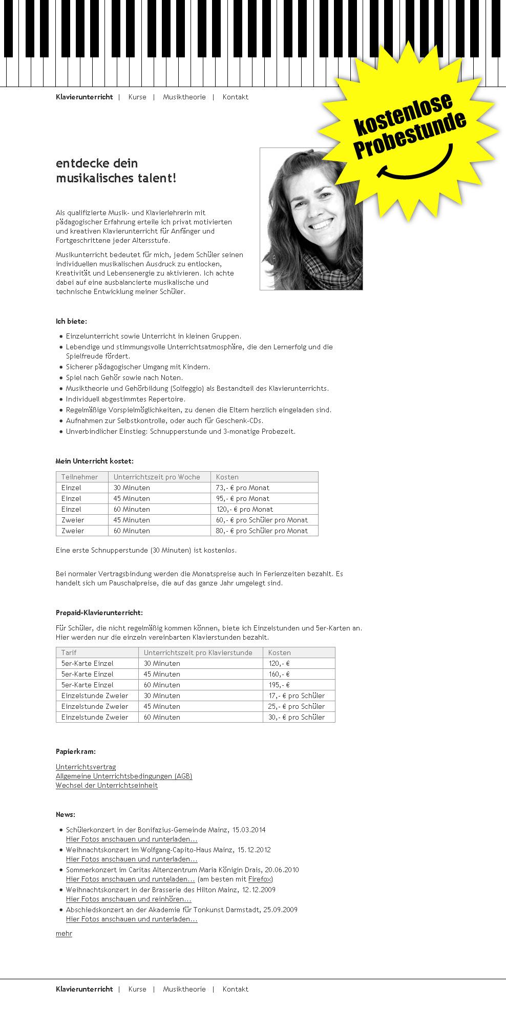 Judit-Feigl.de. WebSite for the piano teacher Judit Feigl.