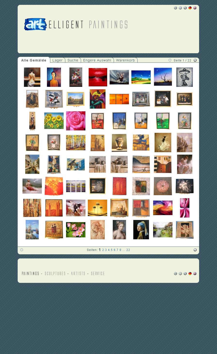 Artelligent-Gallery.de. Shop für Gemälde aus China. Mit selbstprogrammiertem CMS und Shopsystem.