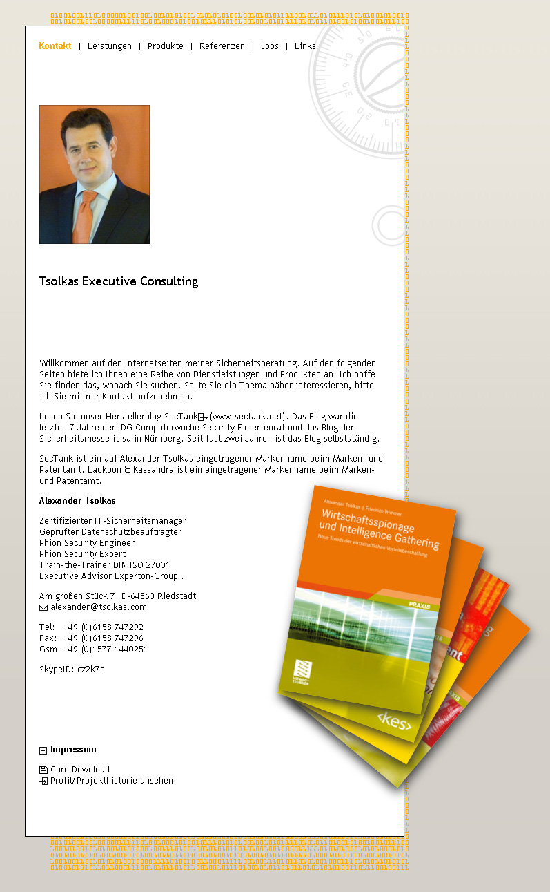 Tsolkas.com. Site for IT security consultant Alexander Tsolkas.