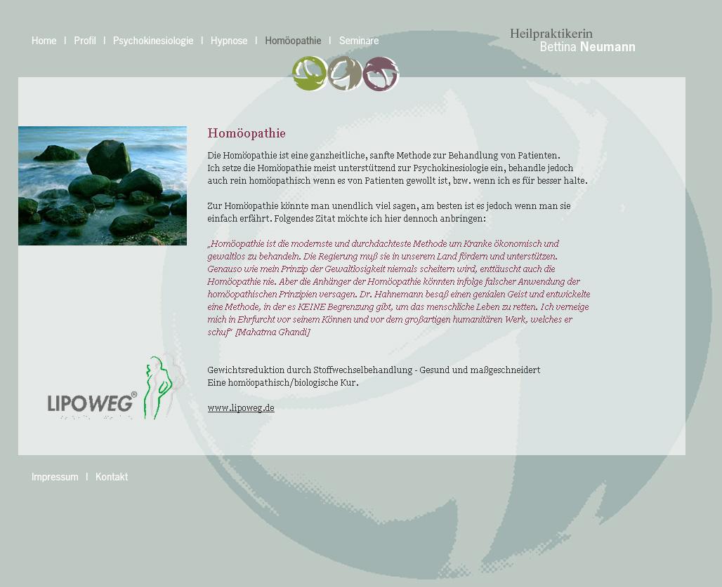 HeilpraktikerinNeumann.de. WebSite for the healer Bettina Neumann. In collaboration with Angelika Semar.