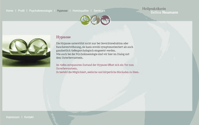 HeilpraktikerinNeumann.de. WebSite for the healer Bettina Neumann.