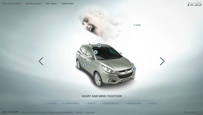 Hyundai ix35. Flash microsite in two phases.