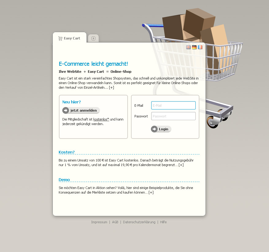 Easy Cart. Das Super-Einfach-Shopsystem