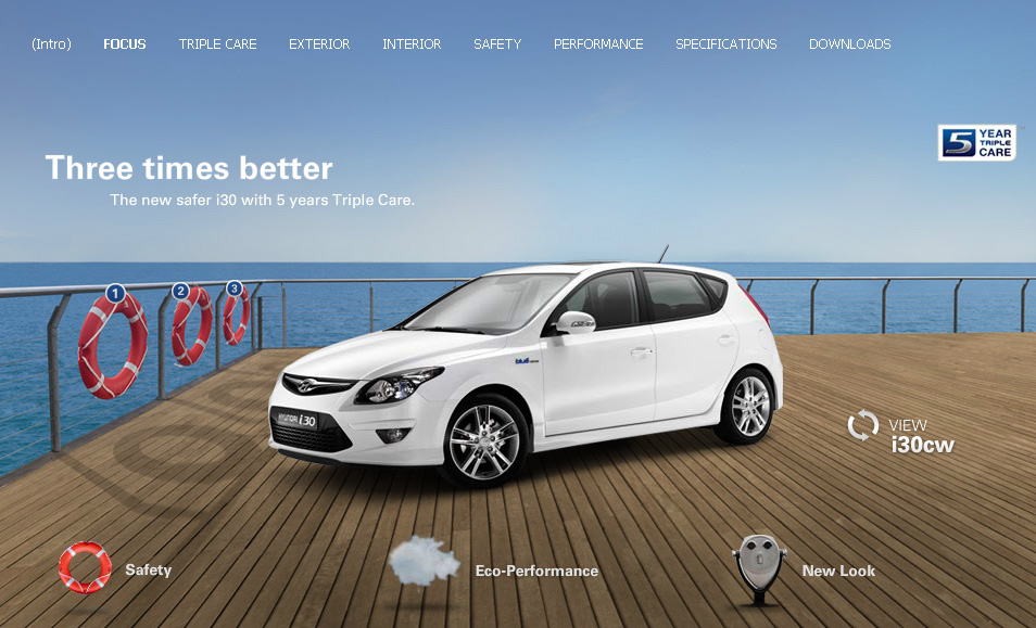 Hyundai i30. Flash microsite. Teamwork with mediaman and deepartmend. Here's an intermediate state with partially missing content.
