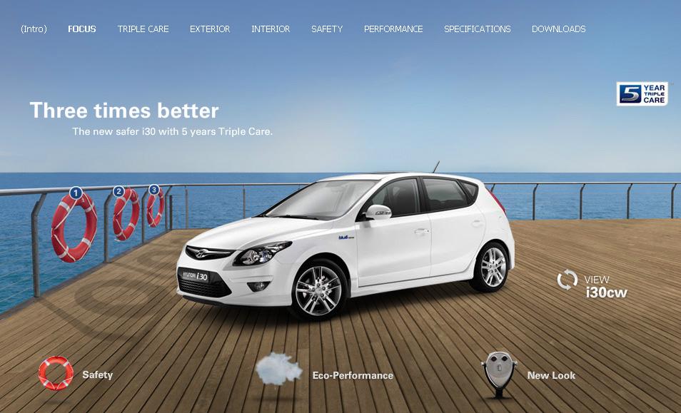 Hyundai i30. Flash MicroSite. Teamwork mit mediaman und deepartmend. Hier ein Zwischenstand mit teilweise noch fehlenden Inhalten.