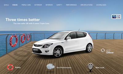 Hyundai i30. Flash weboldal.