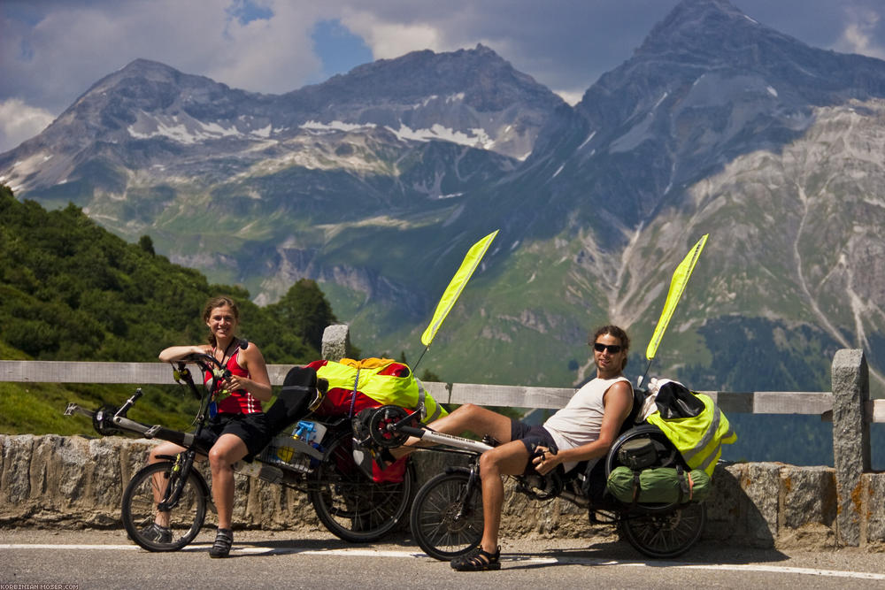 Eight countries recumbent tour. Pregnantly across the Alpes, summer 2010