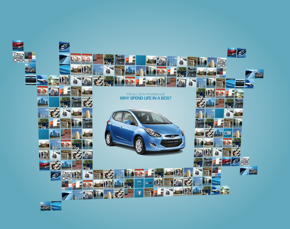 Hyundai ix20. Flash microsite. Teamwork with mediaman and deepartmend. Here's an intermediate state with partially missing content.