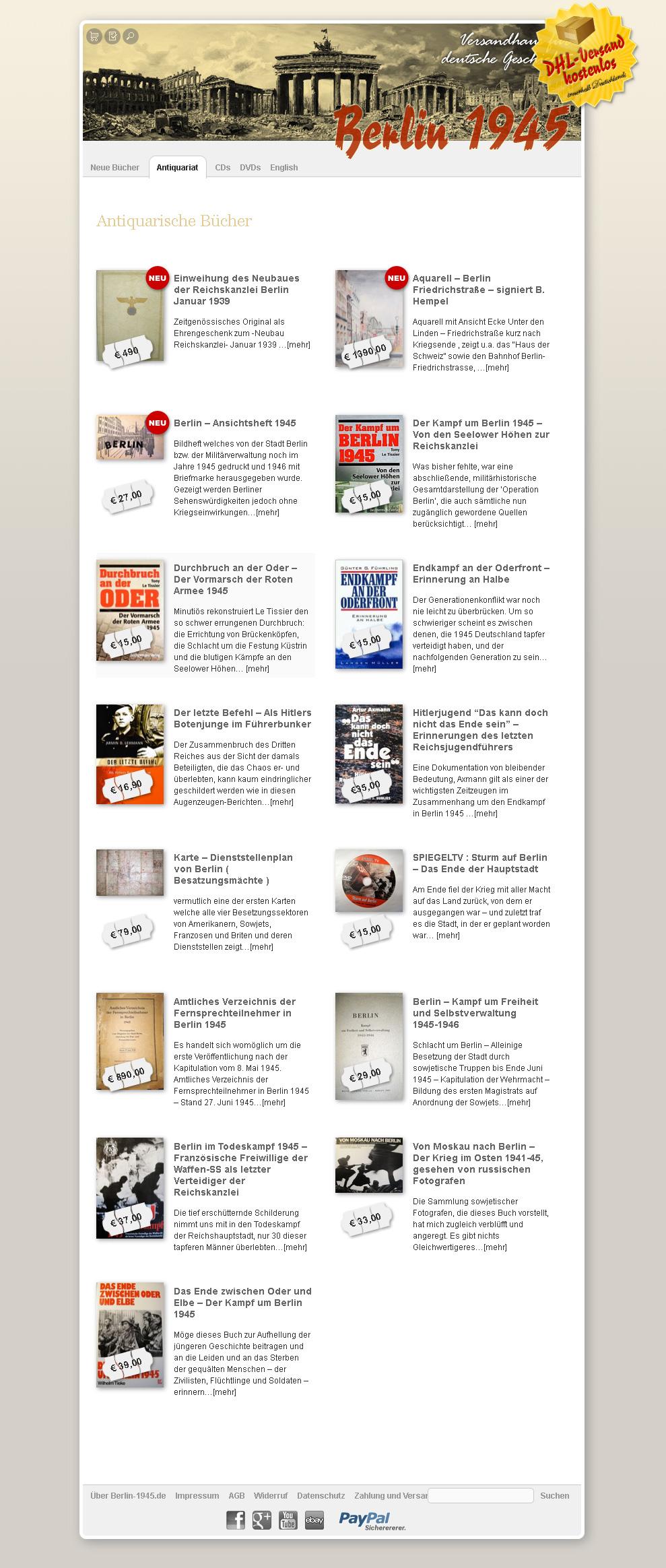 Berlin-1945.de. Könyvesboltot a témában a nemzeti szocializmus. Által végrehajtott WordPress és Easy-Cart.