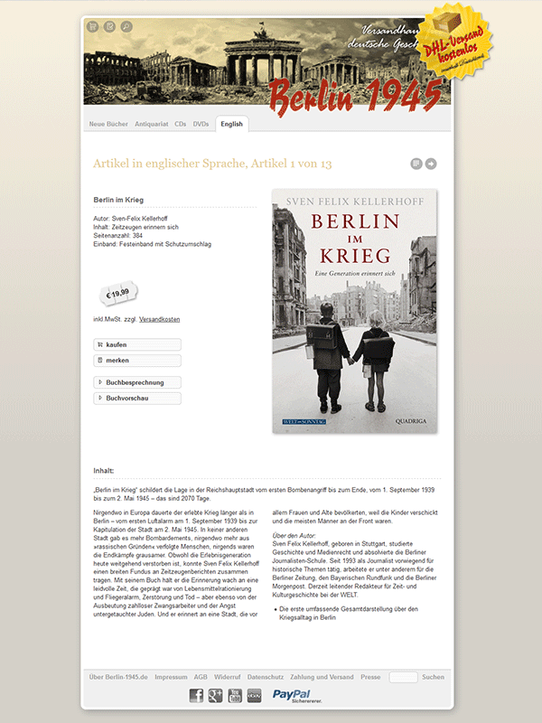 Berlin-1945.de. Büchershop zum Thema Nationalsozialismus.