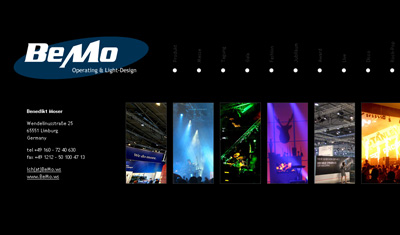bemo.ws. WebVisitenkarte für den Veranstaltungstechniker Benedikt Moser.