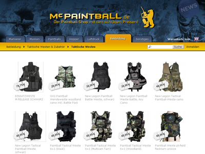 McPaintball.de. Magento bolt paintball kiegészítők.