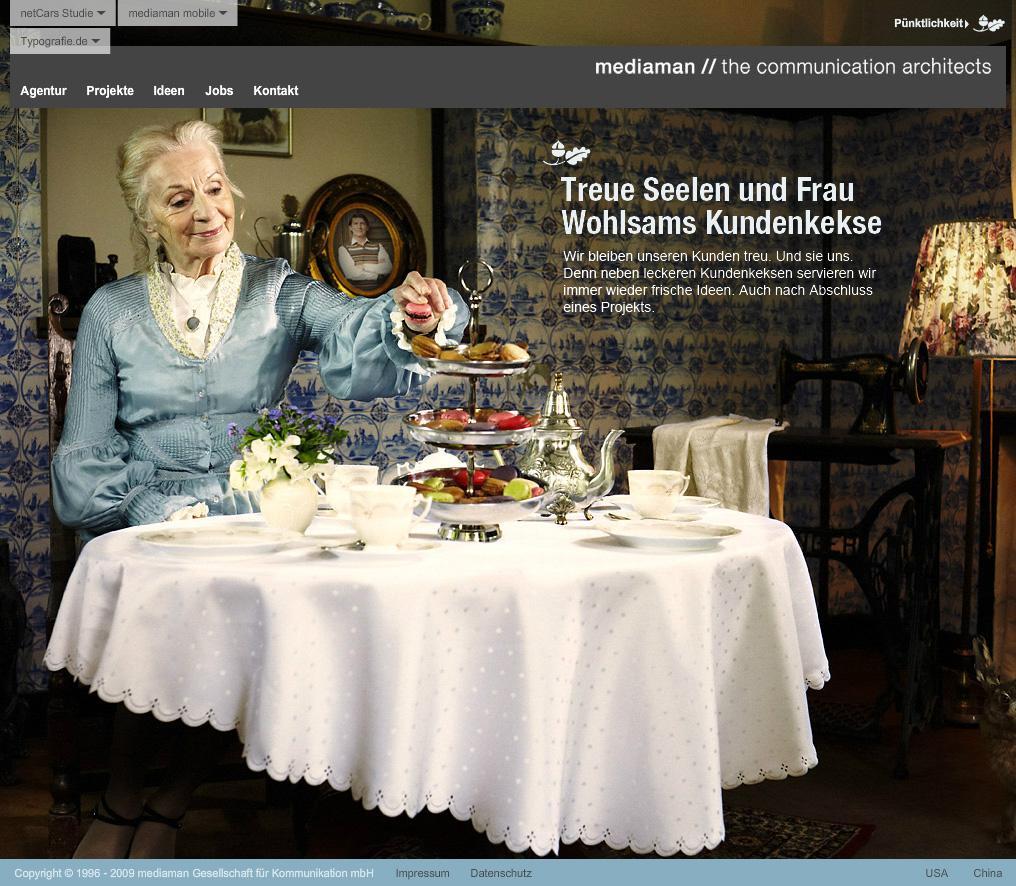 Mediaman.de. Flash site az ügynökség. Csapatmunka MediaMan és deepartmend.