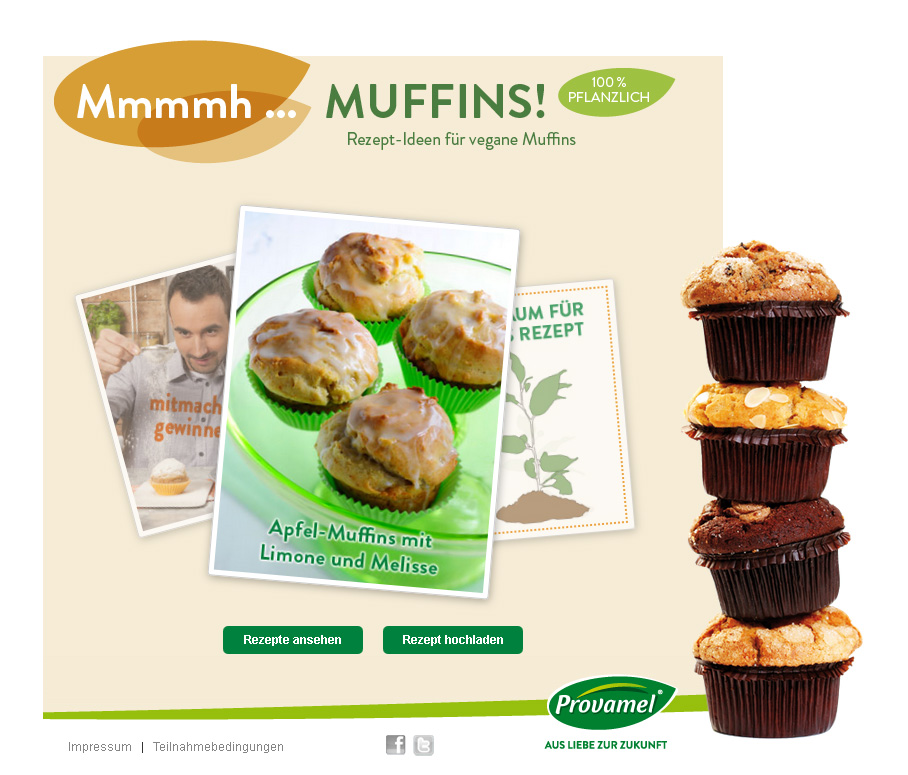Provamel-Muffin-Mania.de. Provamel Rezeptsammlung für vegane Muffins.