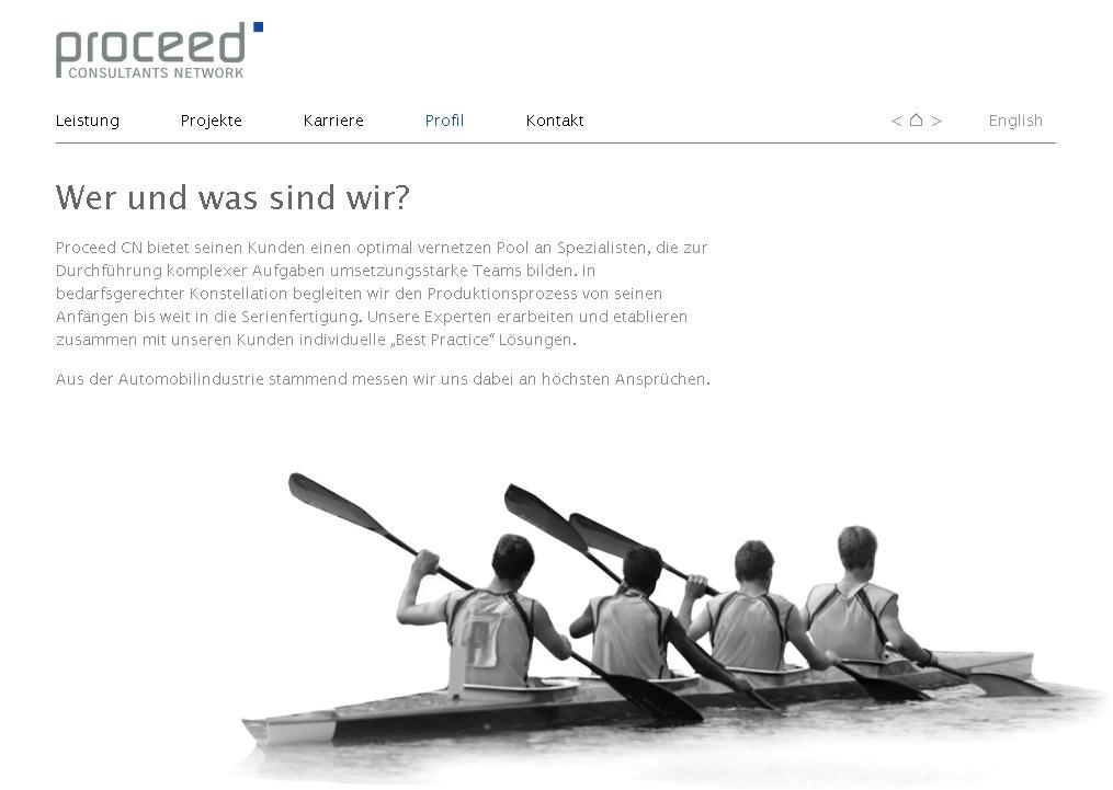 ProceedCN.com. WebSite für ein Consultants Network. In Zusammenarbeit mit Sabine Neumann.
