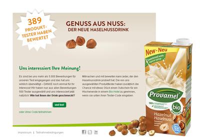 Provamel-Tester.de. Test action for the Provamel hazelnut drink.