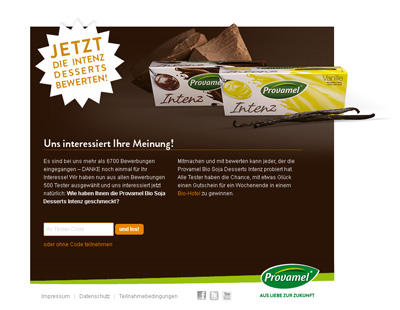 Provamel-Tester.de. Test action for the Provamel Dessert Intenz.
