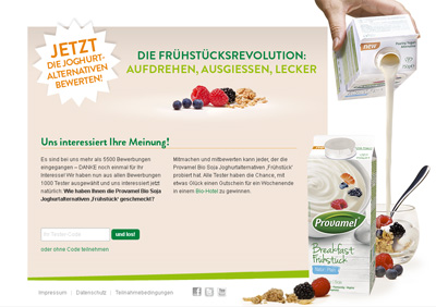 Provamel-Tester.de. Test action for the Provamel yogurt alternative