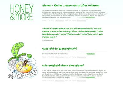 Honey & More. Skin für ein Tumblr-Blog.