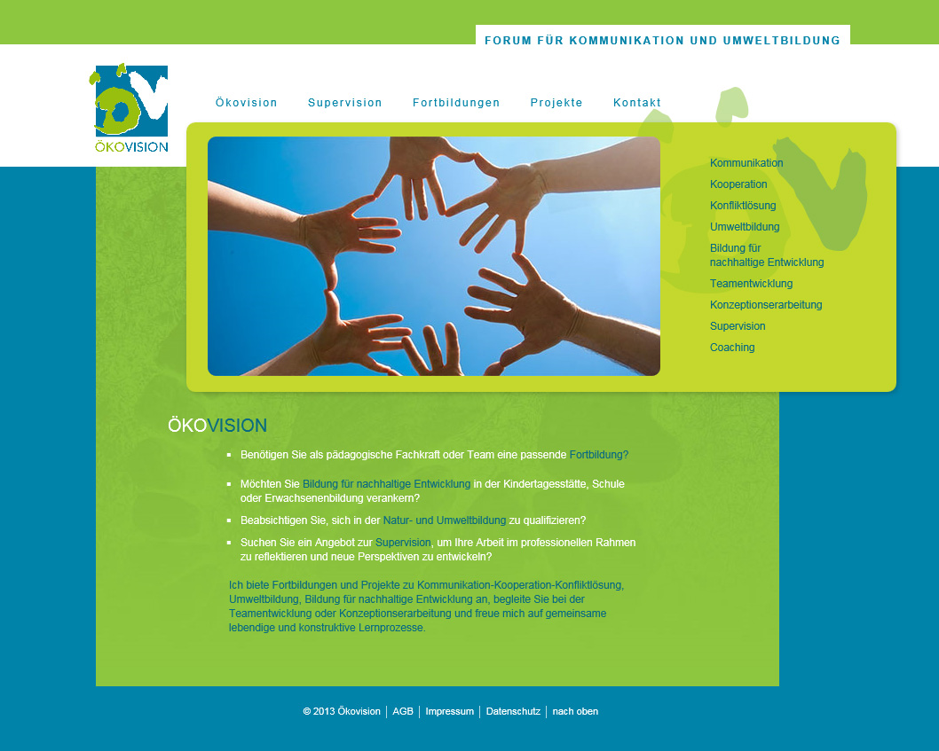 Oekovision.org. ModX WebSite for an environmental educational training centre. In collaboration with Angelika Semar.