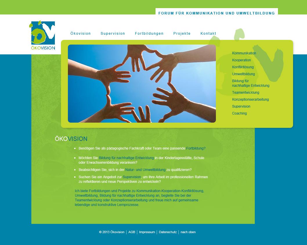 Oekovision.org. ModX-WebSite für ein umweltpädagogisches Fortbildungszentrum. In Zusammenarbeit mit Angelika Semar.