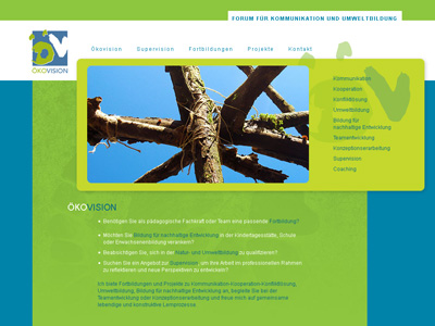 Oekovision.org. a környezetvédelmi oktatási és képzési központ honlapján ModX.