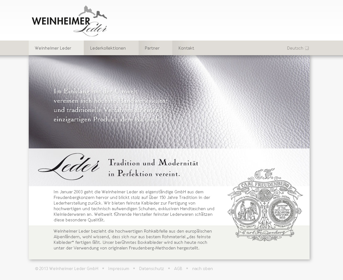 Weinheimer-Leder.com. Mehrsprachige ModX-WebSite für die Keimzelle des Freudenberg-Konzerns. In Zusammenarbeit mit Deborah Kurbel.