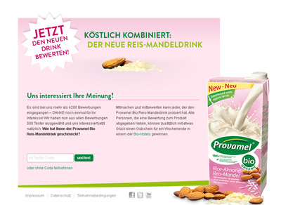 Provamel-Tester.de. Test action for the Provamel rice almond drink.