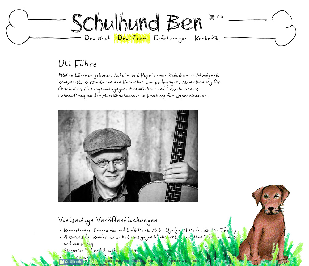 Schulhund-Ben.de. WordPress theme for a children's book.