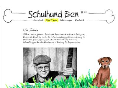 Schulhund-Ben.de. WordPress theme for a children's book.