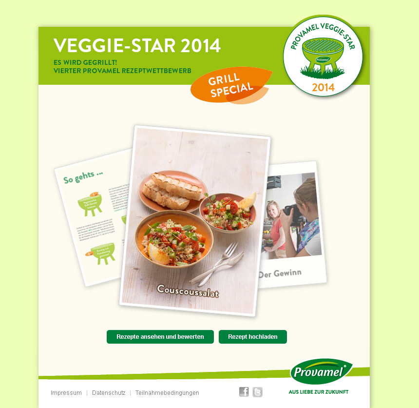 Provamel-Veggie-Star.de. Provamel Rezeptwettbewerb 2014, Thema Grill.