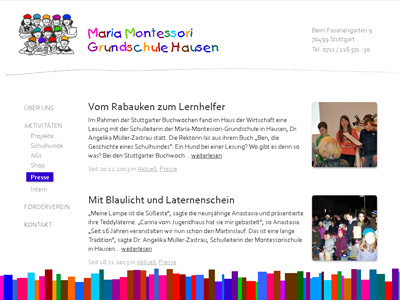 MMGH.de. Playful WordPress theme for the Maria Montessori primary school in Hausen.