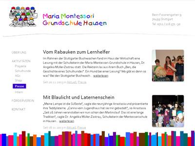 MMGH.de. Verspieltes WordPress-Theme für die Maria Montessori Grundschule Hausen.