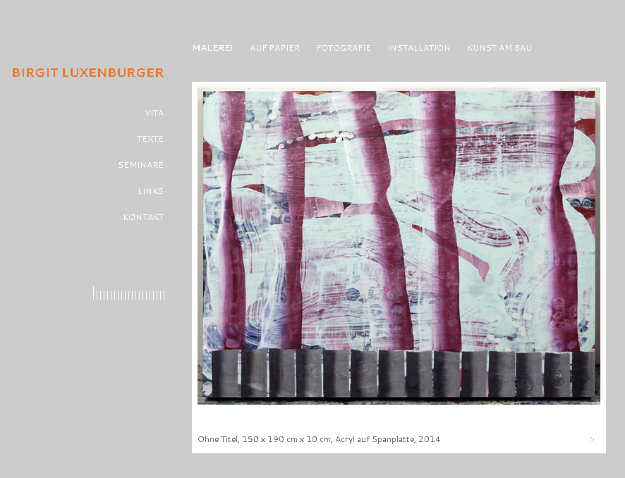Bilux.cc. Minimalistic WordPress Theme for the artist Birgit Luxenurger.