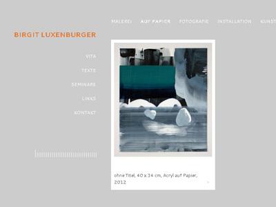 Bilux.cc. Minimalistisches WordPress-Theme für die Künstlerin Birgit Luxenburger.
