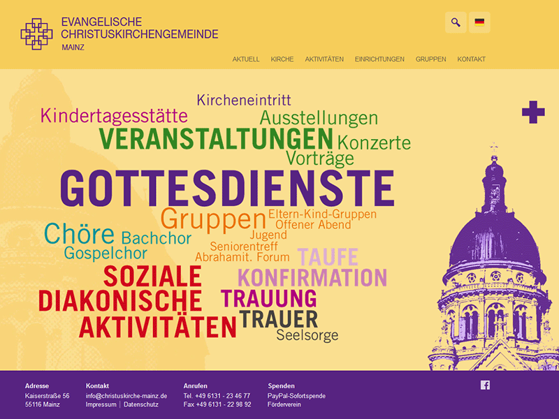 Christuskirche Mainz. Responsive WordPress téma.